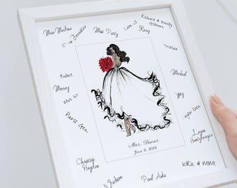 Bridal Shower Guest Book Alternative / Bridal Illustration Bridal Shower Guest Book Alternative / Gift for Bride / Bridal Shower Gift