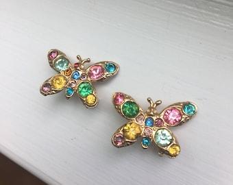 Pair Vintage 1950s Pastel Rhinestone Butterfly Butterflies Scatter Pins Brooch Pin Set