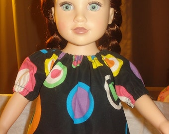 Colorful modest circle print Peasant top for 18 inch Dolls - ag181
