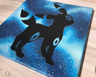 """""""Shiny Umbreon"""" - Painted Canvas Inspired by Pokemon"""