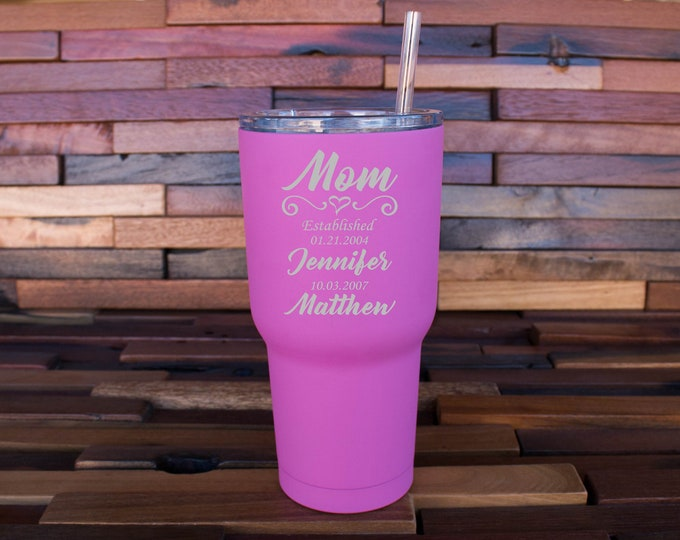 Mom Established Gift, Mom Tumbler, Mom Cup, Best Mom Gift, Mothers Day Gift, Est Mom, Mother's Day Idea, Insulated Tumbler, Mom Gift
