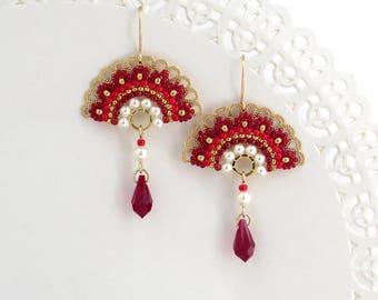 Red drop earrings, Unique earrings, Red dangle earrings, Fan earrings, Crystal dangle earrings, Crystal and pearl earrings, Unusual earrings