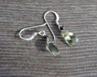 Light GREEN AMETHYST earrings.  AAA Superior quality faceted trillion gemstones. Black tourmaline. S.S.  Art Deco/ Edwardian/ Everyday/