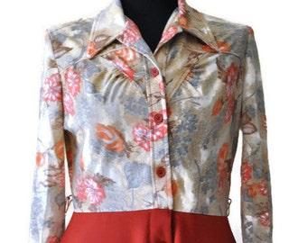 "1970's Orange Dress // Floral Dress // Vintage Casual Dress// Waist 31"""