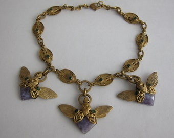 Jean-Louis BLIN vintage Art Nouveau inspired necklace. Signed on plate. Rare and expert.