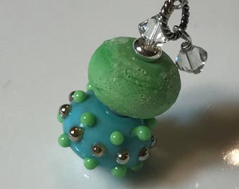 Necklace blue & green glass art lampwork stacked beads with crystals