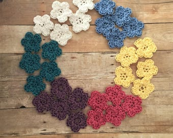Crochet Appliques Spring Flowers  Set of 30