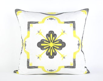 Gray and Yellow Moroccan Watercolor Pillow Cover