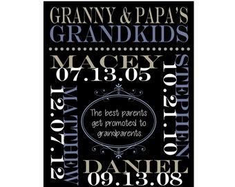 Grandparents Gift Wall Art. Grandparent Anniversary, Grandmother and Grandfather, Grandchildren Names