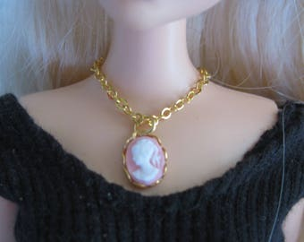 Gold Cameo Necklace Doll Jewelry You Choose Cameo Color fits Fashion Dolls 1/6th Scale 11 1/2 - 12inch dolls