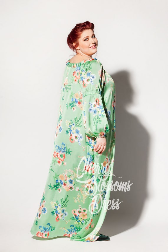 Green Dress Plus Size Maxi Dress Long Sleeve Maxi Plus
