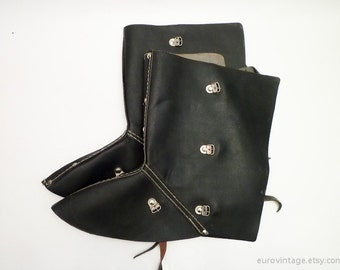 Vintage Black Leather Safety Spats / Steampunk Spats