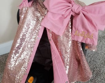 Carseat Cover Elegant Rose Gold Sequin Mauve Cover with Large bow carseat canopy car seat cover car seat canopy Name NOT included