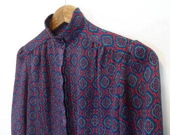 Vintage 1980's sophisticated psychedelic print petite blouse by Pendleton US size 4 (UK size 8)