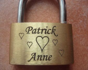 engraved Padlock ( Love-lock, Brass ) with Key and pouch,personalized,engraving on both sides