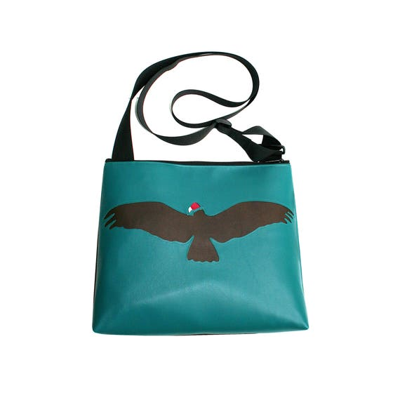 Vulture, turquoise vinyl, vegan, vegan leather, large, crossbody bag
