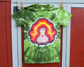 Thanksgiving Turkey Tie Dye T-shirt - Made to Order - YOUTH size XS, S, M, L