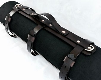 Leather bedroll or blanket strap carrier for motorcycling, biking, festivals and camping
