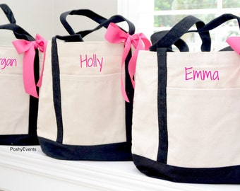 Embroidered Sorority Tote Bags, Sorority Sister Tote Bag, Personalized Tote Bags Monogrammed in Black or Navy