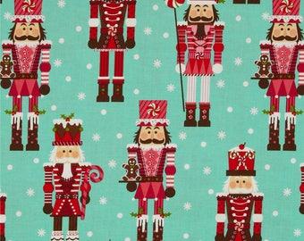Holiday Santa's Farm Nutcrackers Aqua ~ Michael Miller Fabrics