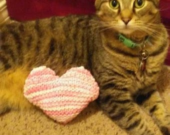 Heart Shaped Knitted Catnip Toy