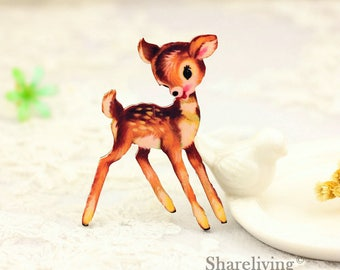 4pcs Wooden Deer Fawn Charm , Laser Cut Wooden Bambi Pendant, Perfect for Necklace Brooch  - HW088C