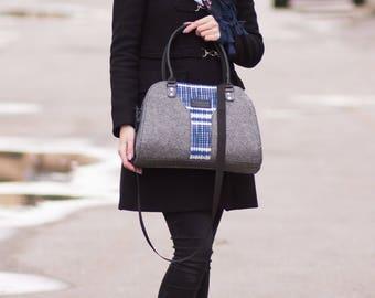 Felted purse shoulder bag Central blue pattern bag Felt  Street bag Casual bag Diaper bag Tote Bag Bags and purses Grey Bag Messenger Bag