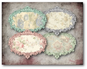 Shabby Chic Rose Labels Digital Collage Sheet Download -344 - Digital Paper - Instant Download Printables