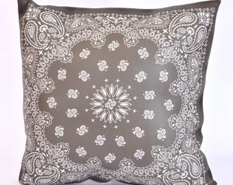 Grey bandana pillow faux leather oriental moroccan decorative tile boho chic decorative pillow pillow cover outdoor pillow