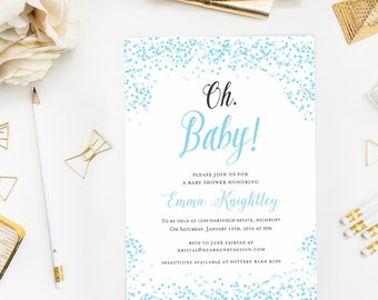 Blue Oh Baby Shower Invitation, Confetti Baby Shower Invite, Winter Shower, Gender Neutral, Baby Boy,
