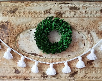 Wood bead tassel garland