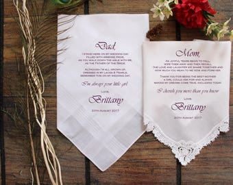 Mother of the Bride-Father of the Bride-Wedding Handkerchief-PRINTED Lace hankerchief-Set of 2 CUSTOMIZED-Wedding hankies-Wedding-ViCop[8]