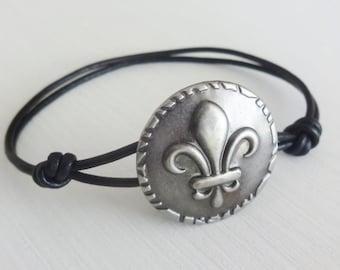 Fleur De Lis Bracelet, Antique Silver, Genuine Leather Cord, Leather Bracelet, Paris, France, Parisienne Jewelry, Many Cord Colors Available