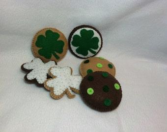 St Patrick's Day Cookies, Felt Food, Felt Cookies, Pretend Play, Play Food