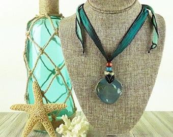 Nautical Nonsense Ceramic Necklace: Shell Necklace/ Nautical Necklace/ Ocean Necklace/ Beach Necklace/ Handmade Necklace/ Bohemian Jewelry