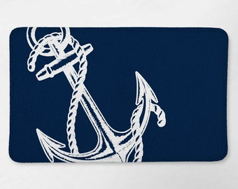 Nautical Bath Rug, Nautical Bathroom, Navy Blue Anchor Bath Mat, Bath Rug, Nautical Bath Decor, Nautical Bath Mat, Anchor Bathroom Decor