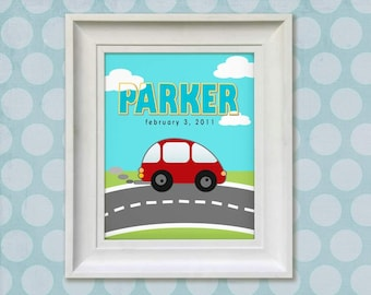 Nursery Art Print - Little Red Car 11x14 Personalized Baby Room Decor