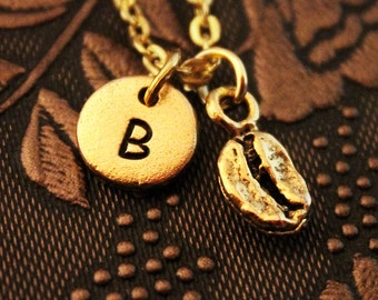 Coffee Bean Necklace VERY SMALL Initial Necklace Personalized Necklace, Engraved Necklace, Coffee Necklace, Monogram Necklace, Gold Necklace