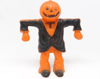 Vintage 1950's Halloween Candy Container, Scarecrow Man with Jack-o-lantern Head