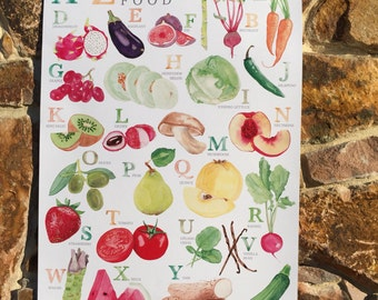 Food Illustration A-Z Fresh Food Watercolour Illustration Print - A4