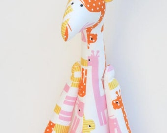 Giraffe toy plush softie toy stuffed giraffe doll orange yellow pink for little children girl boy gift for baby shower and nursery decor