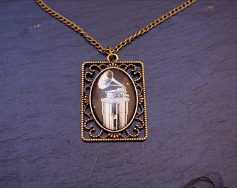gramophone cabochon necklace