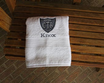Personalized CTR White Towel With Navy Hash Applique 2018