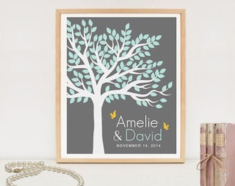 Wedding tree poster - 100 Signature Tree -  Wedding Print - Guest Book Tree - DIGITAL FILE!
