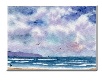 ACEO watercolor STORMY weather original painting SFA miniature dollhouse mini seascape