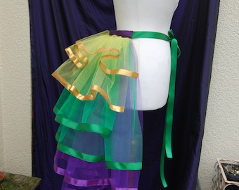 Mardi Gras Burlesque Net Bustle in Purple, Green, Yellow and Gold