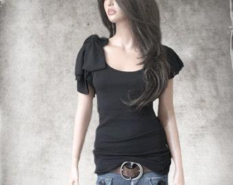 Black bow top/Women cascade sleeve/Adjustable shoulder tie