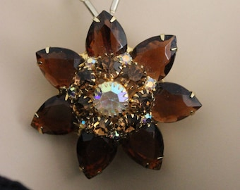 Huge Vintage Amber Rhinestone Aurora Borealis Necklace and Matching Clip Earrings