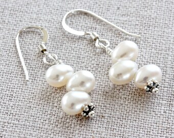 White Pearl Earrings, Pearl Dangle Earrings, Freshwater Pearl Earrings, Beaded Earrings, Real Pearl Jewelry, Sterling Silver Jewelry for Her