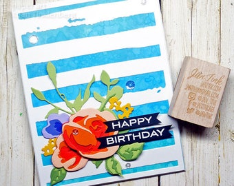 Happy Birthday Beautiful Roses Fancy Greeting Card Handmade in Blue Orange Purple Green for Friend Sister Mom Daughter Aunt Coworker